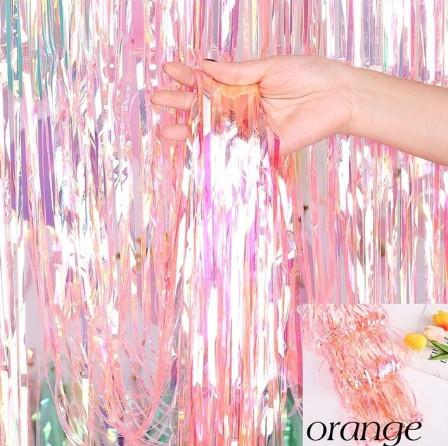 Дощик перламутровий помаранчевий фотозоны (довжина 3м, ширина 1м)