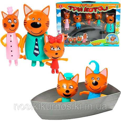 Игровой набор Три кота — 5 героев, лодка