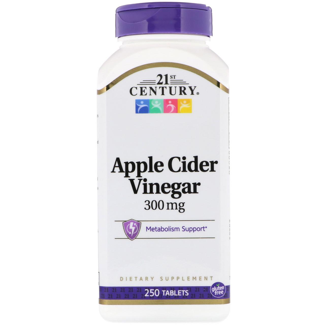 """Яблочный уксус 21st Century """"Apple Cider Vinegar"""" для снижения веса, 300 мг (250 таблеток)"""