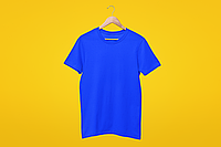 Мужская футболка синяя хлопок для нанесения надписей и принтов методом шелкографии или для прямой печати