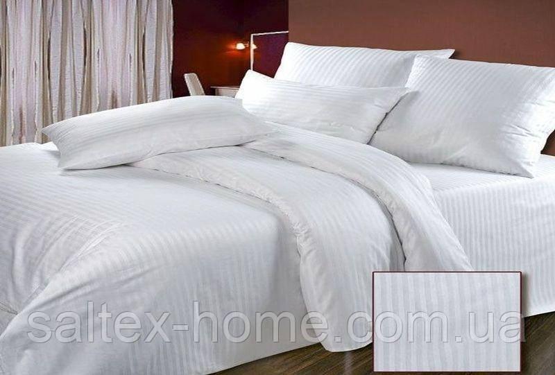 Комплект постельного белья полуторный, белого цвета, ткань страйп сатин пр-во Турция