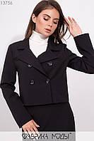 Укороченный пиджак на пуговицах прямого кроя с лацканами длинными рукавами 13756