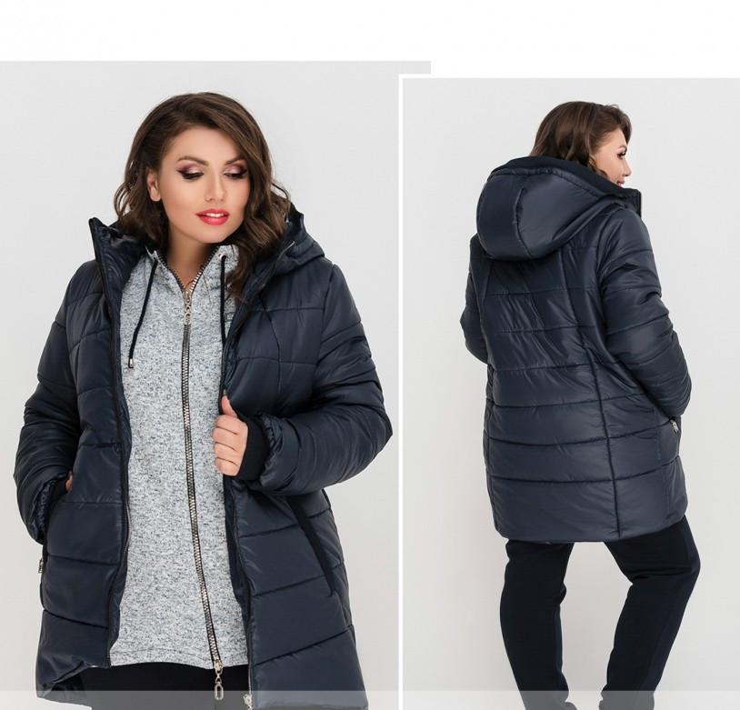 / Размер 56-58,64-66 / Женская зимняя теплая куртка с капюшоном 8-189-Синий