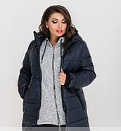 / Размер 56-58,64-66 / Женская зимняя теплая куртка с капюшоном 8-189-Синий, фото 2