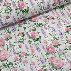 Хлопковая ткань польская полевые цветы на белом