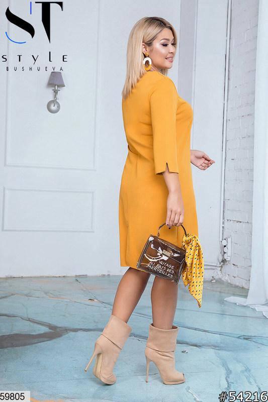 Повседневное платье больших размеров оранжевое, фото 2
