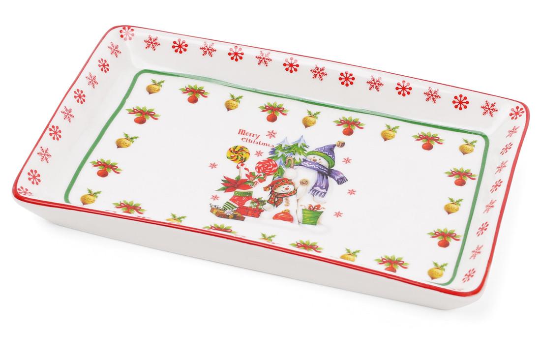 Тарелка фарфоровая рождественская Снеговики Bona Di 283-108