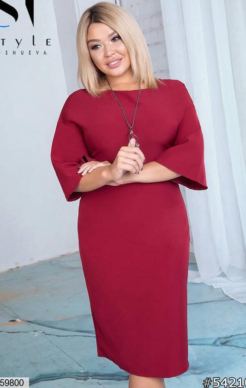 Повседневное облегающее платье больших размеров бордовое, фото 2