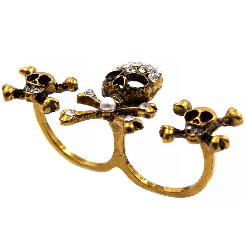 Кольцо двойное «Череп и кости»