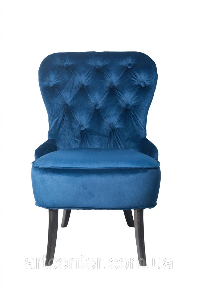 Кресло для педикюра Remi, велюровая обивка синего цвета, ножки сосна