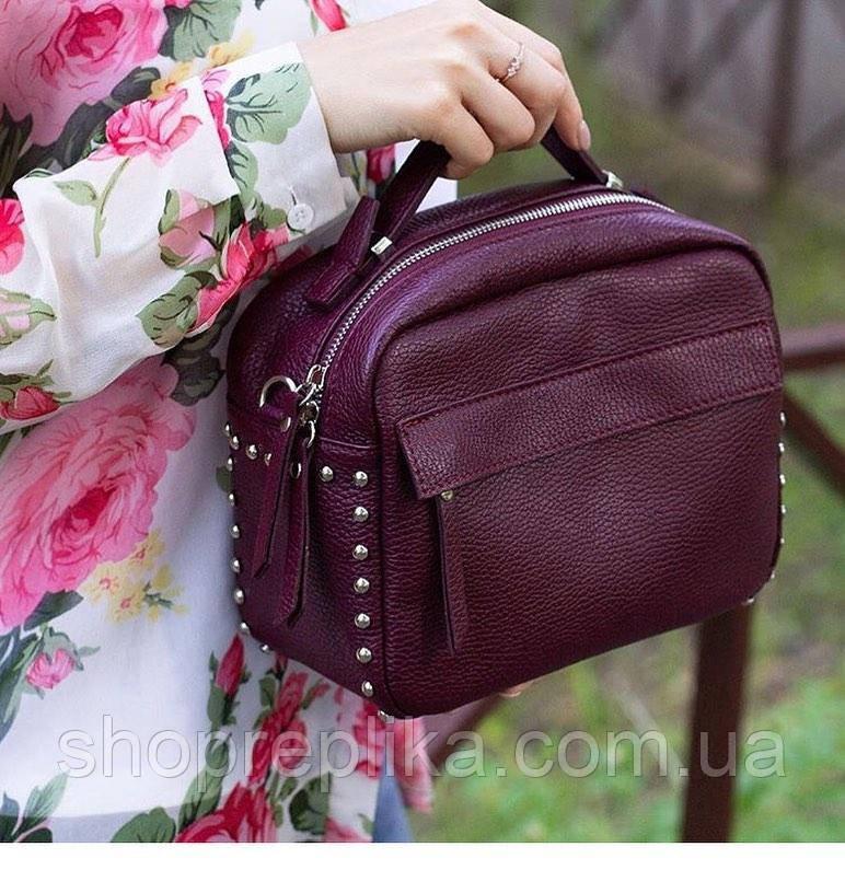 Кожаный женский клатч в натуральной коже цвет бордо , кожаные сумки