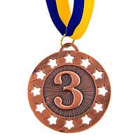 Медаль спортивна зі стрічкою 6,5 см (метал, 34г, бронза) 10шт