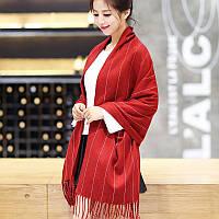 Шарф женский демисезонный теплый, красный в тонкую полоску, опт, фото 1