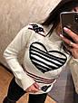 Красивый турецкий свитер Сердце белый (42-46), фото 3