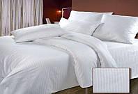Комплект постельного белья двухспальный, белого цвета, ткань страйп сатин пр-во Турция