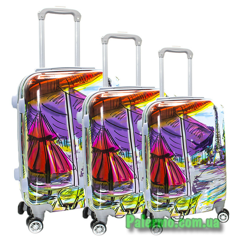 Набор пластиковых чемоданов на колесах (комплект из трех чемоданов) Paris autumn