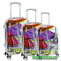 Набор пластиковых чемоданов на колесах (комплект из трех чемоданов) Paris autumn, фото 1