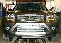 Декоративно-защитная сетка радиатора Suzuki Grand Vitara фальшрадиаторная решетка, бампер