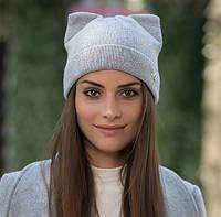 Женская вязаная шапка с ушками Кошечка М серая, фото 1