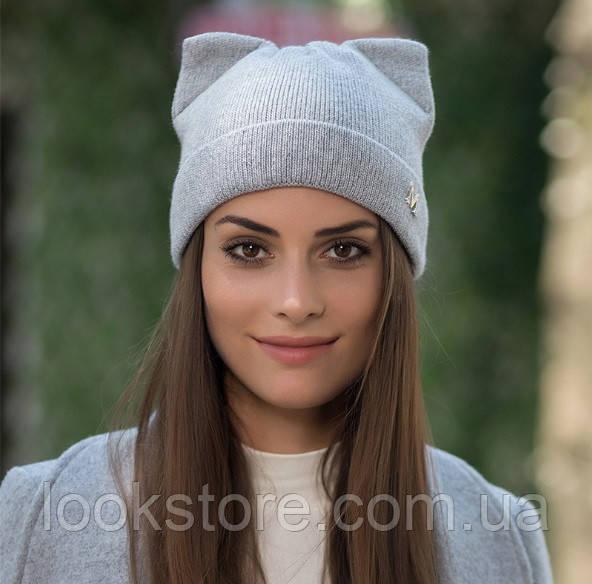 Женская вязаная шапка с ушками Кошечка М серая