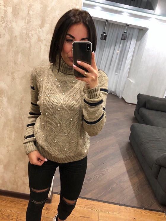 Красивый теплый свитер Узор жемчуг беж (42-46)