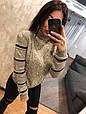 Красивый теплый свитер Узор жемчуг беж (42-46), фото 3