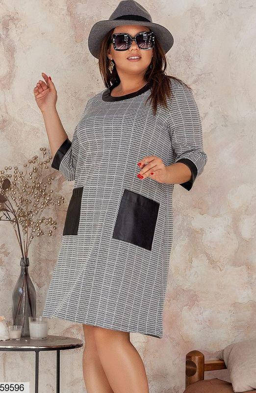 Трикотажное платье-трапеция больших размеров серое, фото 2