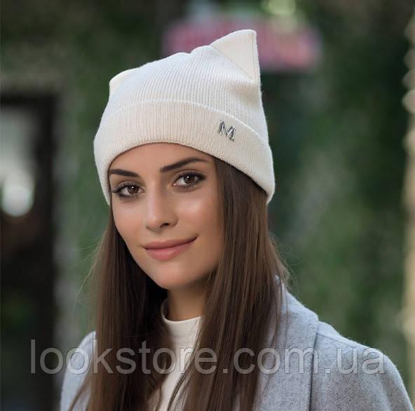 Женская вязаная шапка с ушками Кошечка М молочная