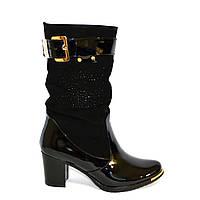 Стильные зимние женские ботинки на невысоком каблуке, натуральная лаковая кожа и замш, фото 1