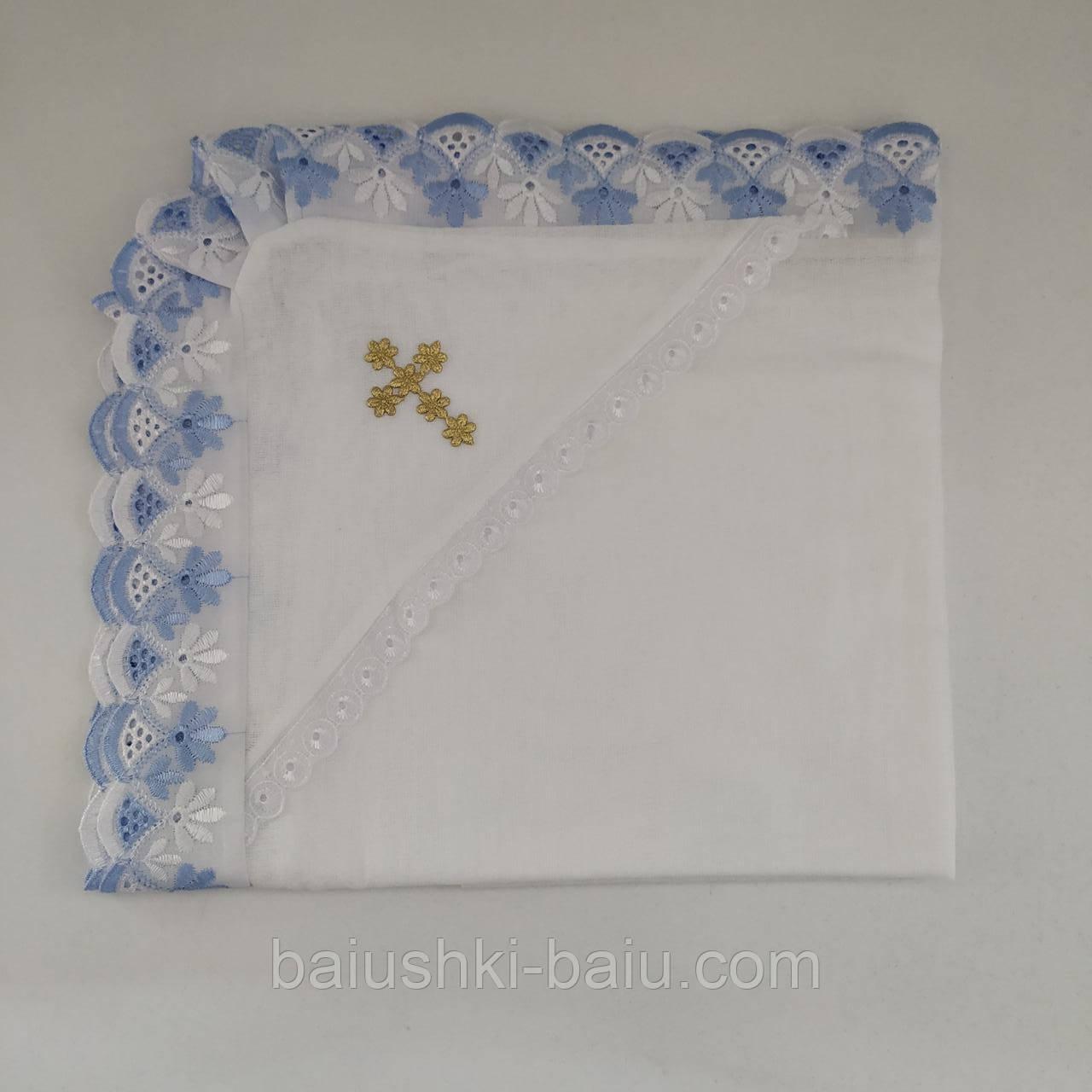 Крестильное полотенце крыжма с уголком тонкая