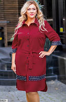 Нарядное платье-рубашка для полных с кружевом бордовое