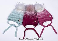 Зимняя шапка на флисе Акварель 48-52 см (на завязках)