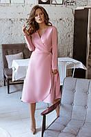 Женское модное платье с запахом из креп - костюмки