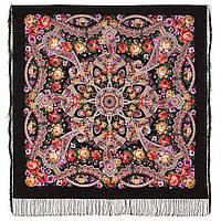 Девица-краса 1869-18, павлопосадский платок шерстяной с шелковой бахромой