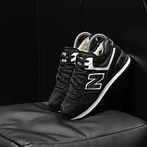 """Зимние кроссовки на меху New Balance 574  """"Черные / Белые"""", фото 2"""