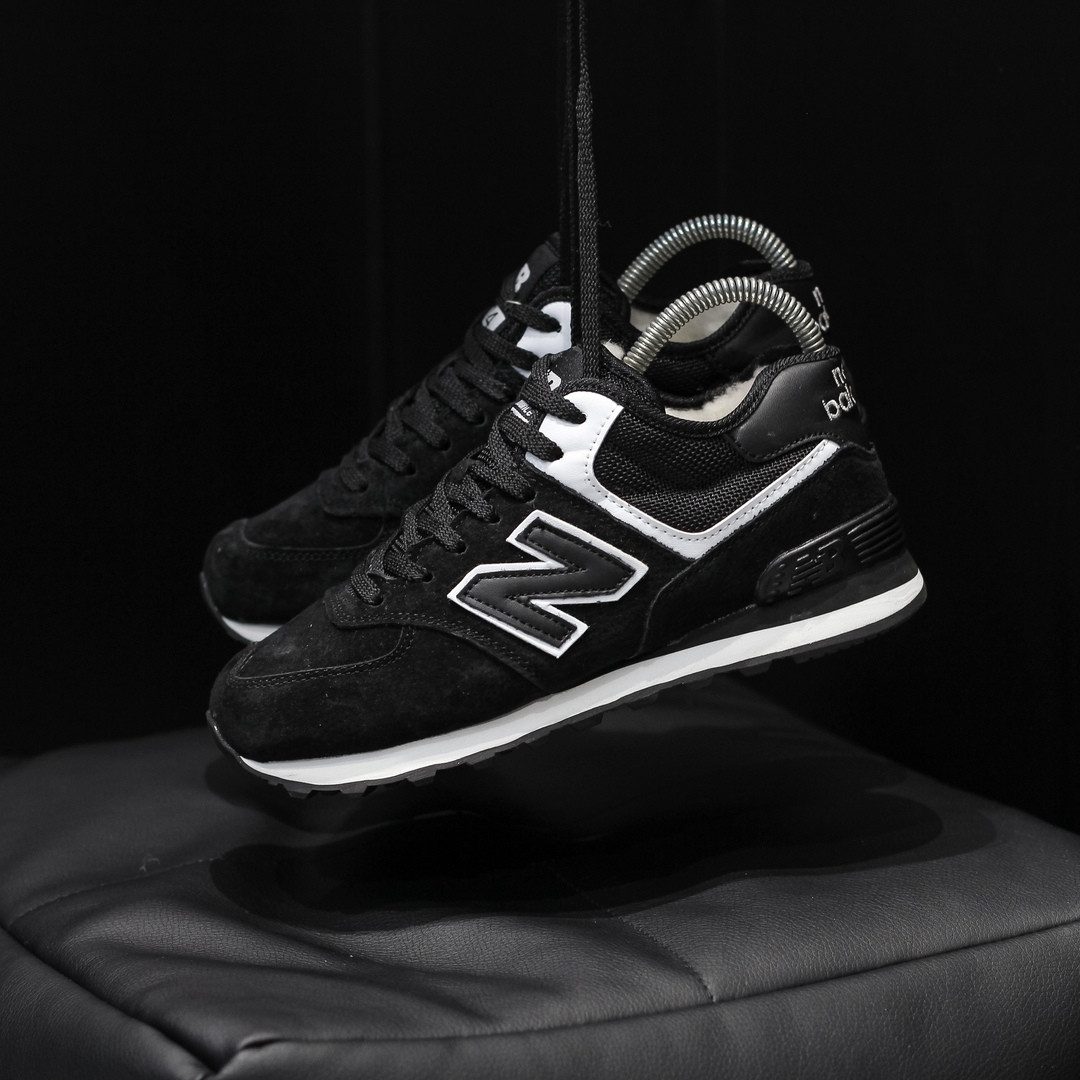 """Зимние кроссовки на меху New Balance 574  """"Черные / Белые"""""""