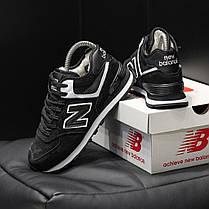 """Зимние кроссовки на меху New Balance 574  """"Черные / Белые"""", фото 3"""