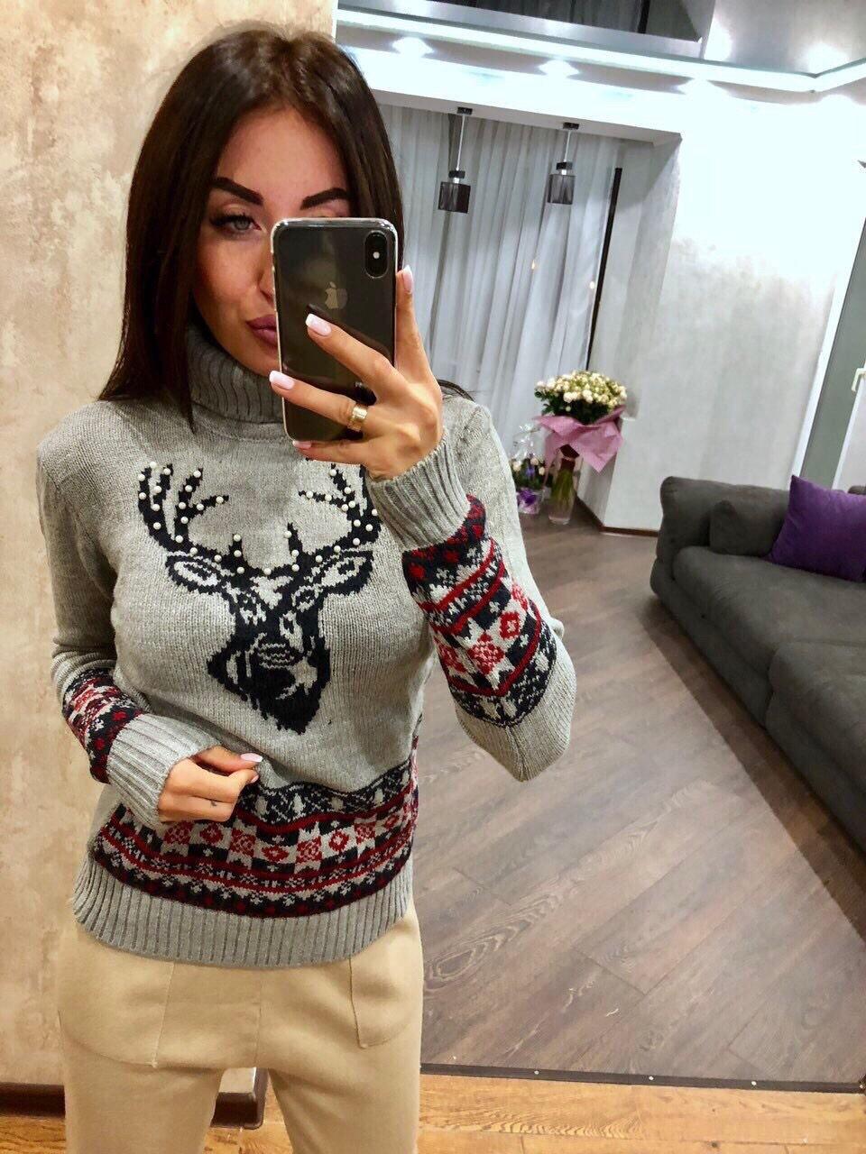 Модный турецкий свитер Новогодний орнамент серый  (42-46)