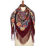 Девица-краса 1869-6, павлопосадский платок шерстяной с шелковой бахромой, фото 2