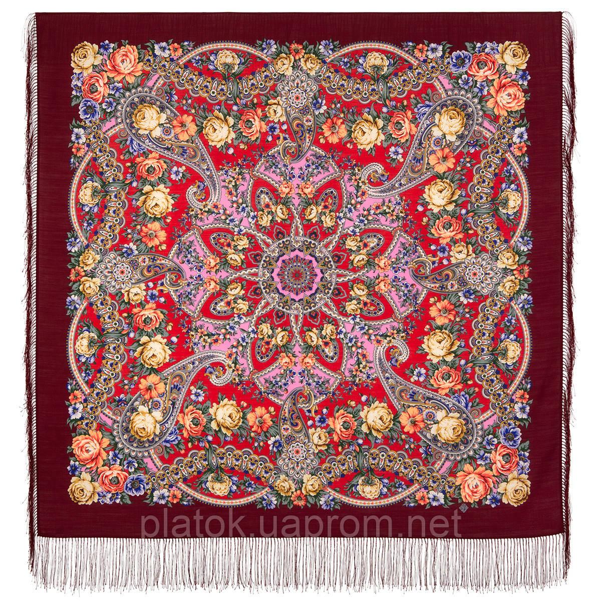 Девица-краса 1869-6, павлопосадский платок шерстяной с шелковой бахромой