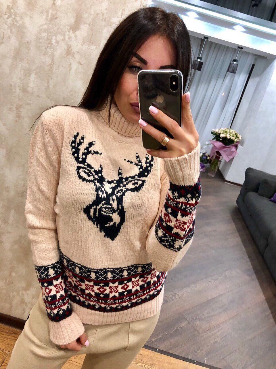 Турецкий свитер Новогодний орнамент пудра (42-46)
