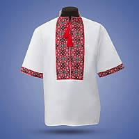 Мужская  вышиванка из белого льна на короткий рукав