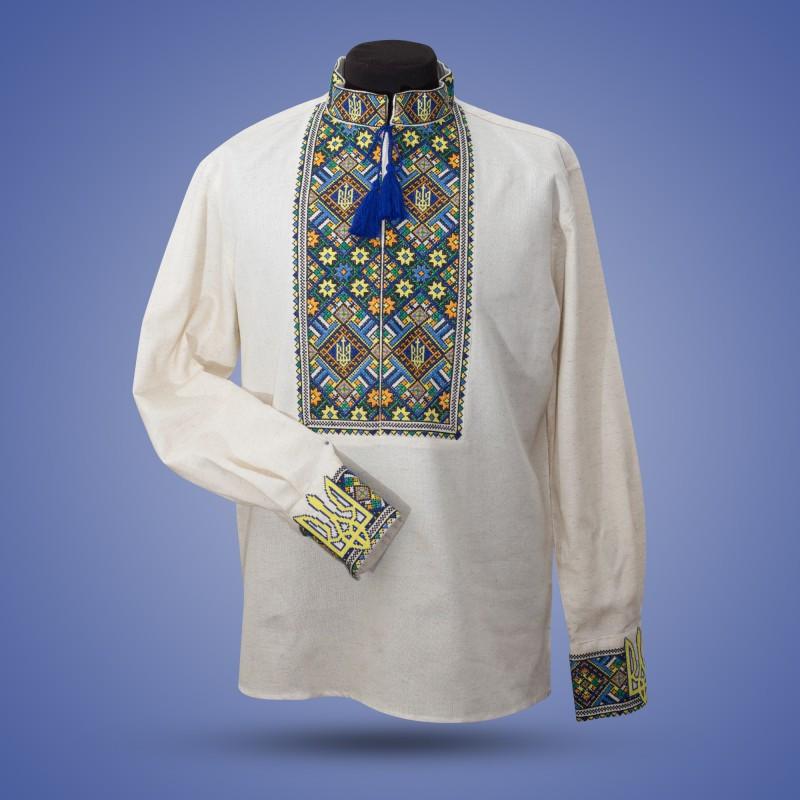 Вышиванка из белого льна для мужчин -Тризубы