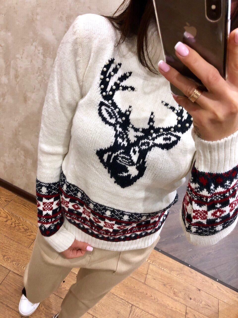 Красивый турецкий свитер Новогодний орнамент белый (42-46)