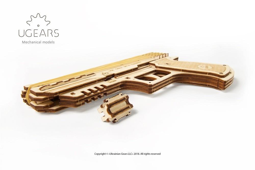Пистолет Вольф-01 | UGEARS | Механический 3D конструктор из дерева