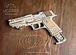 Пистолет Вольф-01 | UGEARS | Механический 3D конструктор из дерева, фото 5