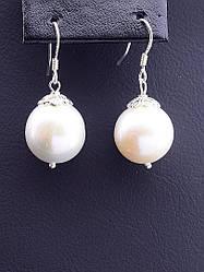Серьги женские серебряные с натуральным жемчугом SUNSTONES
