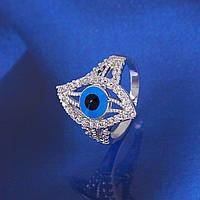 """Кольцо  """"Глаз"""" покрытие серебром размер 17 код10896."""