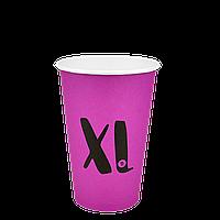 """Бумажный стакан  """"XL"""" Розовый 340мл. 50шт/уп (1ящ/25уп/1250шт) под крышку КВ79/""""РОМБ"""" 79"""