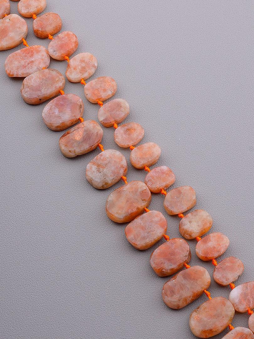 Нити из натуральных камней  Солнечный камень 42 см. (Без замка)